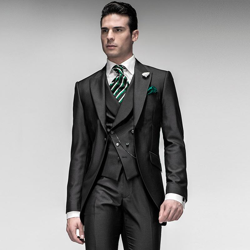 2018 dernier manteau pantalon conceptions satin noir hommes costumes revers pointu slim fit smokings mariage costume de bal terno formelle 3 pièces