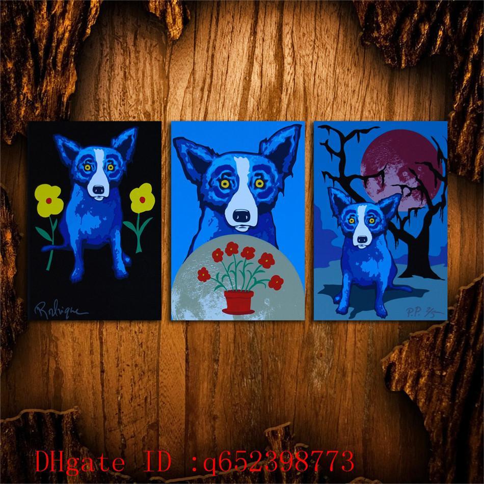 George Rodrigue Blue dog -147,3 PC HD Leinwand Druck Neue Dekoration Kunst Malerei (Ungerahmt / Gerahmt)