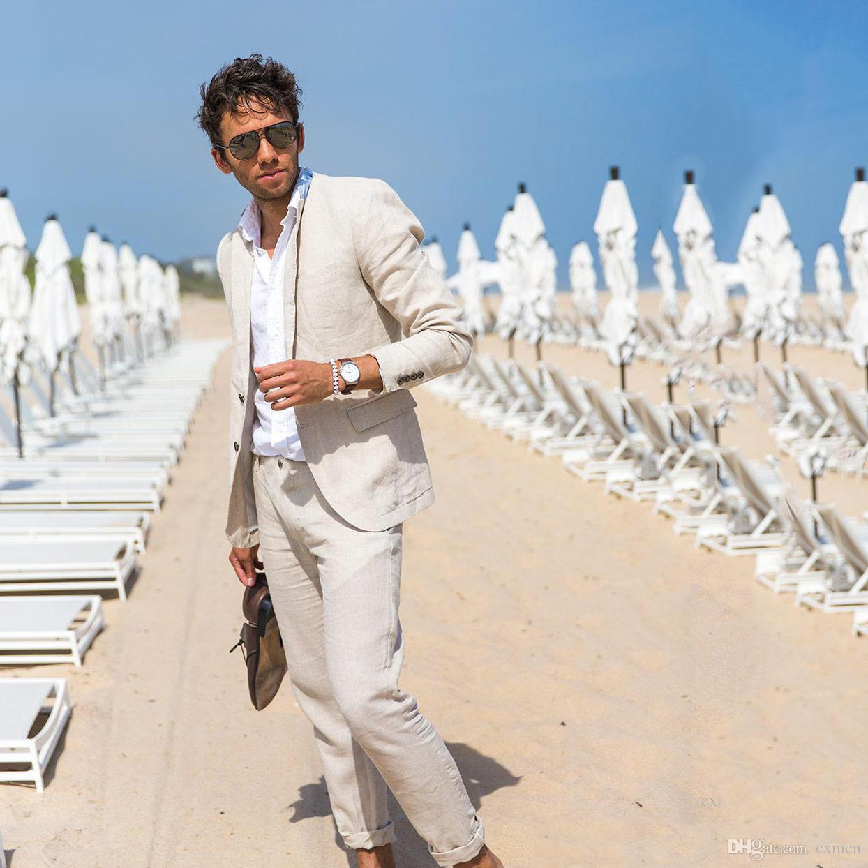 Custom Made Ivory,Beige Summer Beach Wedding Linen Tuxedos Men Suits Best men Marriage Groom Best Men 2 Piece Jacket+Pants