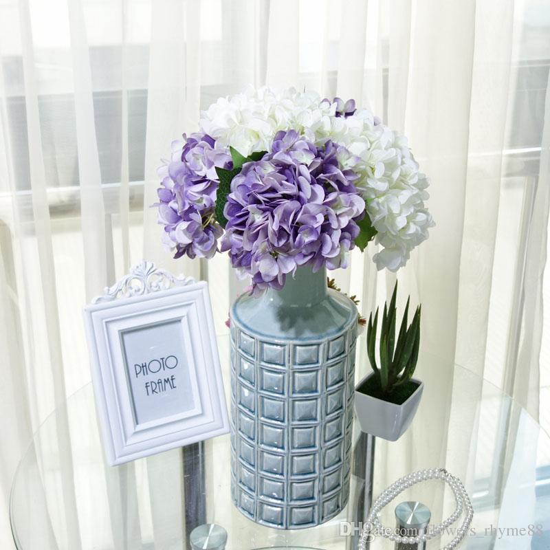 Flor decorativa para a festa de casamento artificial de luxo Hortênsia cabeça de flor de seda DIY falso flor Floral decoração para casa Bouquet De Noiva