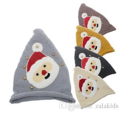 Осень Зима Hat Дети Дети Санта-Клаус Вязать Шапочки Cap Шерсть Теплые Звезды Шляпы Для Детей Рождество