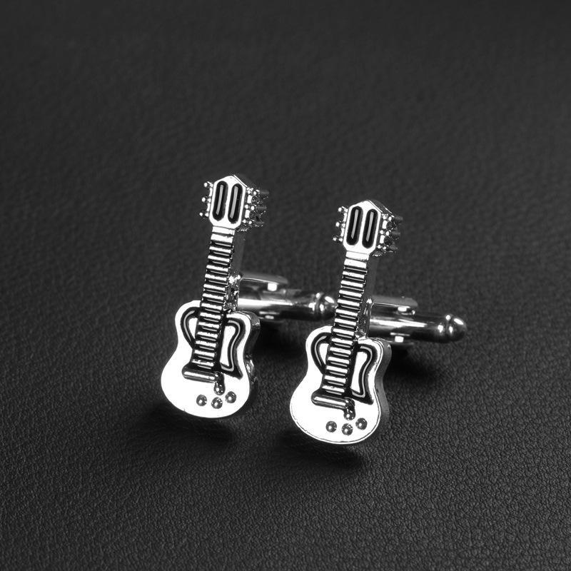 2017 marca de alta calidad de moda Gemelos Nueva cadera - Hop Guitar Musical Silver Black Esmalte para hombres mujeres camisa botón Cuff francés