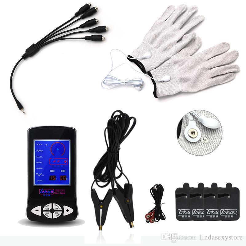 Electro Shock Nipple Paste Body Massage Pad Nipple Clamps Guanto Stimolare i giocattoli a tema medico con 5 in 1 Cable Couple Electric