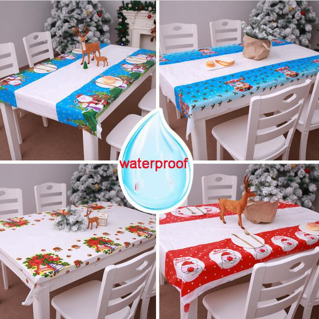 Merry Christmas tablecloth disposable table cloth theme home festival party supplies decoration plastic table cover 108*180cm