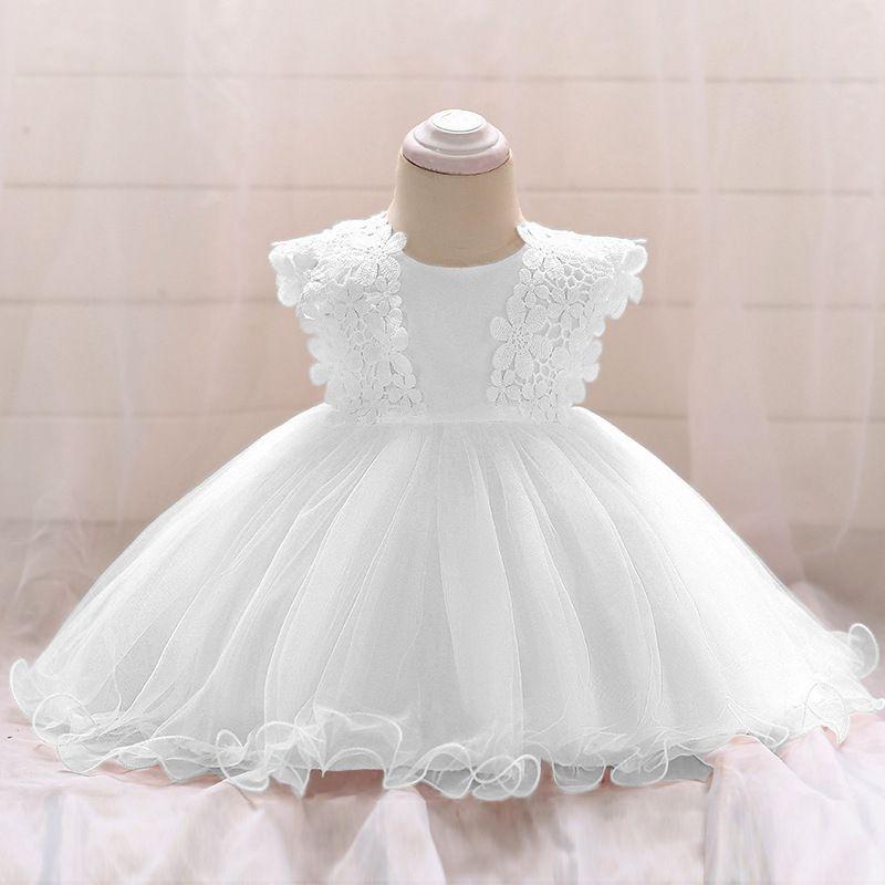Baby Mädchen Taufkleider für 1. Geburtstag Kleider Mädchen Infant Kinder Weiß Spitze Kleider Neugeborenen Kinder Hochzeit Abendkleid