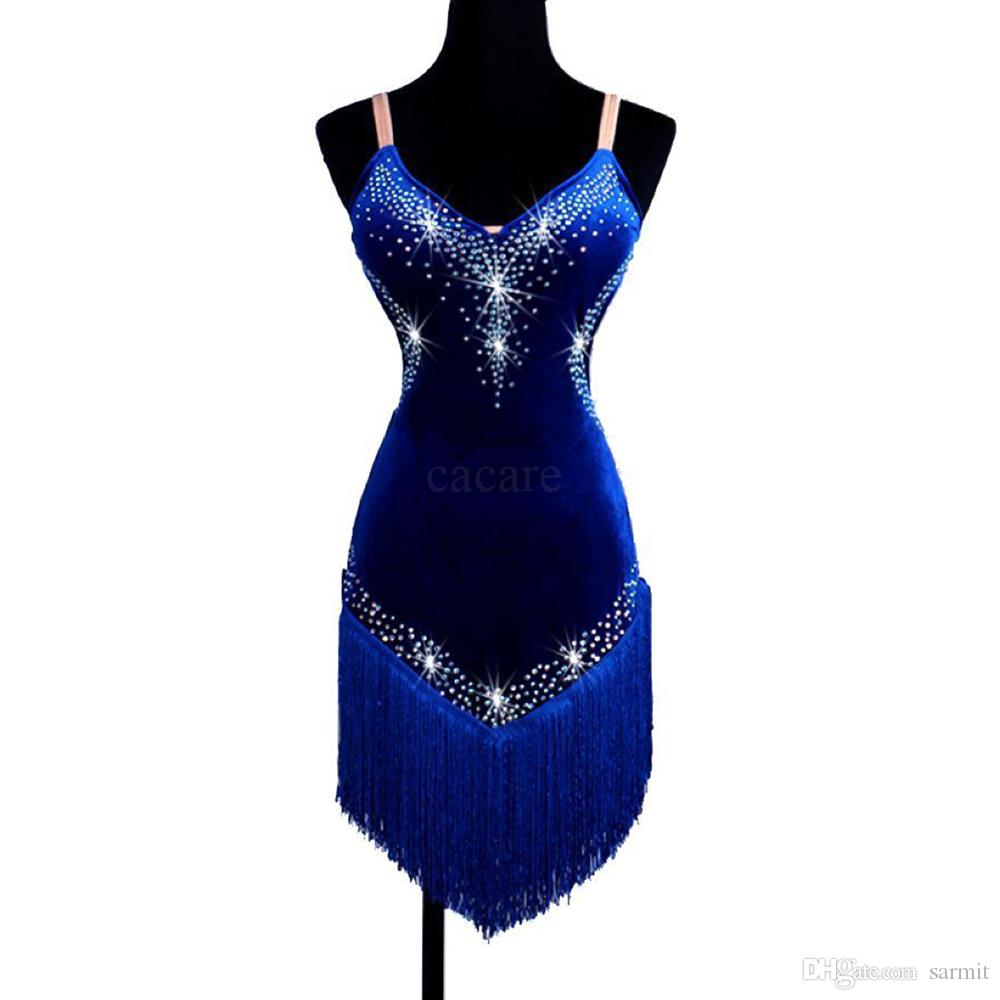 Velvet Latin Dance Dress Women Samba Dance Costumes Tango Salsa Dress Samba Costume 4 Colors D0177 Backless with Rhinestones Tassels