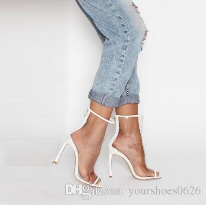 Kim Kardashian Style Tacchi alti Scarpe da donna PVC trasparente Stivaletti da donna Sexy Peep Toe Tacchi a spillo Pompe da donna
