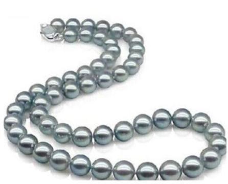 Оптовая элегантный 9-10 мм Южное море серебряный серый жемчужное ожерелье 20 дюймов 925 серебряная застежка