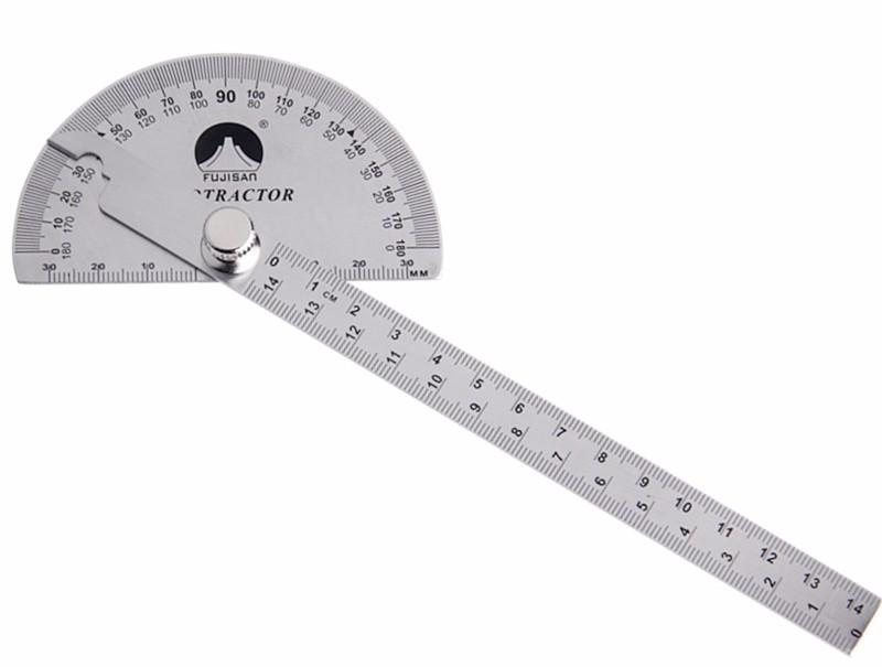 Stainless Steel Protractor Round Head Rotary Goniometer Angle Ruler Professional