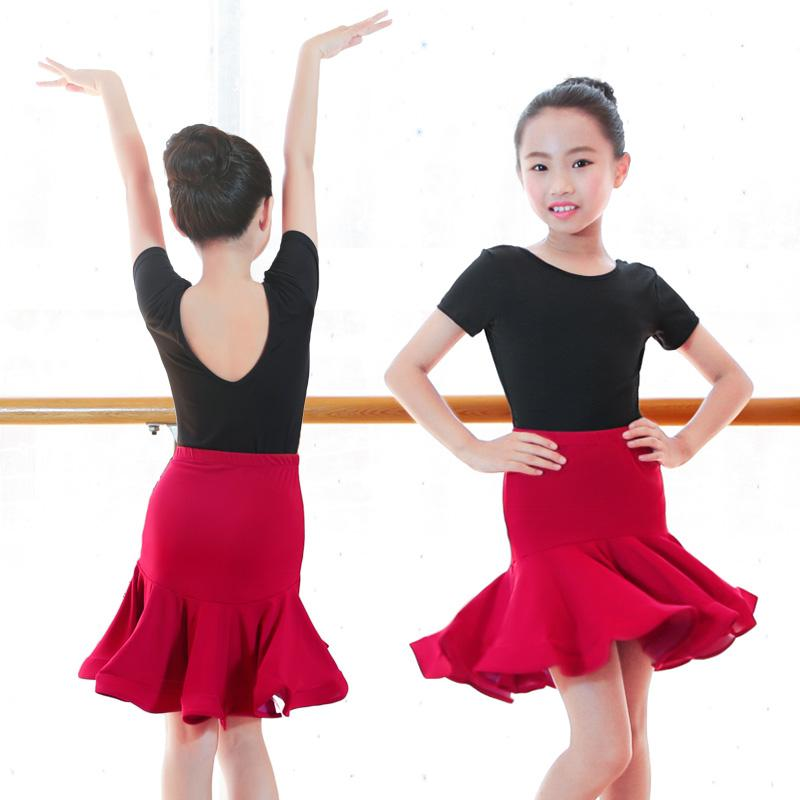 Meninas salsa tango rumba latina vestido de treinamento de manga curta vestidos de baile de dança sereia saia