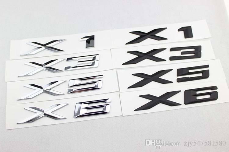 Haute Qualité 1 pcs Nouvelle Voiture Style 3D Chrome Argent et Noir X1 X3 X5 X6 GT Lettres Emblème Arrière Tronc Botte Badge Logo Autocollant Pour BMW