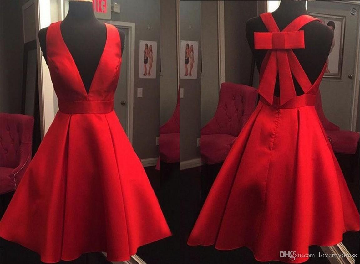 2018 Unique Back Design Red Cocktail Dresses A line Satin V neck Bows Short Club Prom Homecoming Dress Cheap Party Evening Gowns
