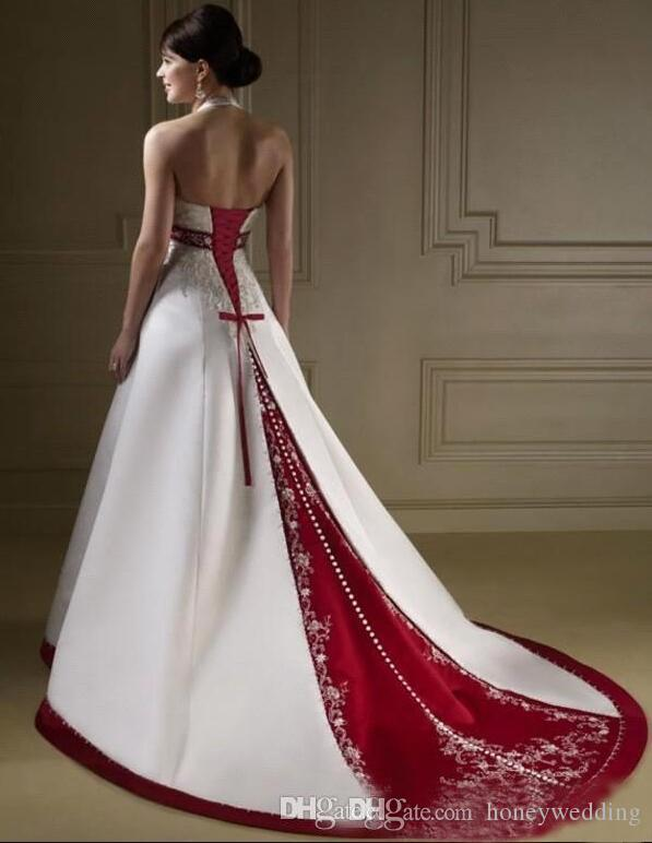 Embroidery Beading Bridal Ball Gown Halter White With Wine Red Wedding Dresses Plus Size Royal Blue Satin Wedding Gown