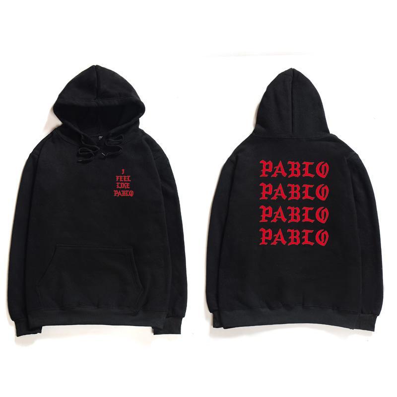 Hip Hop Hoodies Men I Feel Like Pablo Oeste Streetwear Hoodie capuz Carta Imprimir Hoodie Hoodie Clube