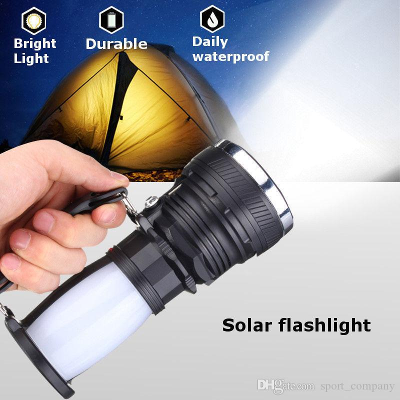 Portable Solar Powered LED Flashlight Rechargeable Handled Torch Searchlight Camping Tent Light Lantern Lamp for Outdoor Camping
