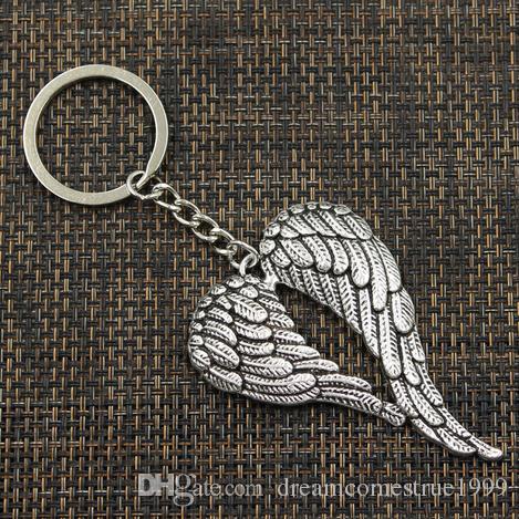 الشحن مجانا 20pcs / الكثير مفتاح حلقة سلسلة المفاتيح مجوهرات الفضة مطلي أجنحة الملاك السحر
