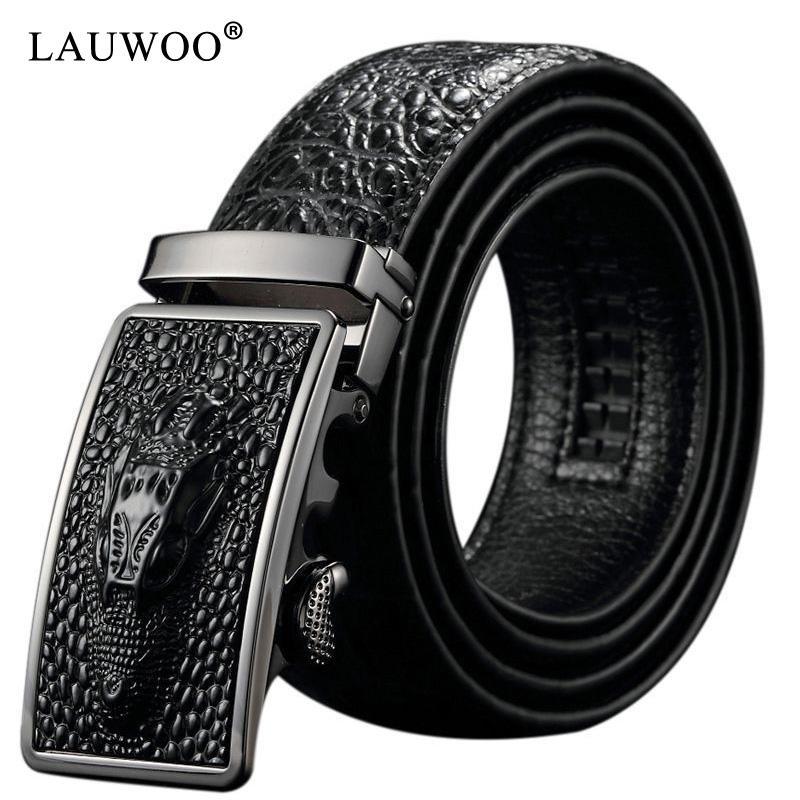 Lauoooo 100٪ جلد البقر الرجال نمط تمساح حزام جودة التمساح رئيس التلقائي مشبك حزام 7 أنماط للاختيار من بينها