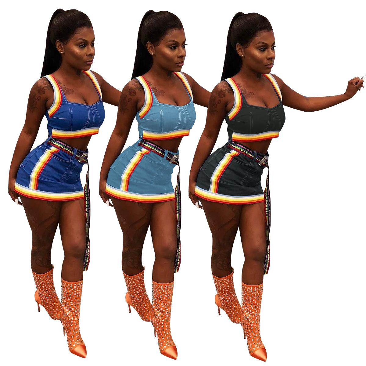 Summer Sexy Sets Jean Cropped Tops Bodycon Mini Skirt Suits 2 Pieces Outfits Women Tracksuit Cotton Blend Crop Top