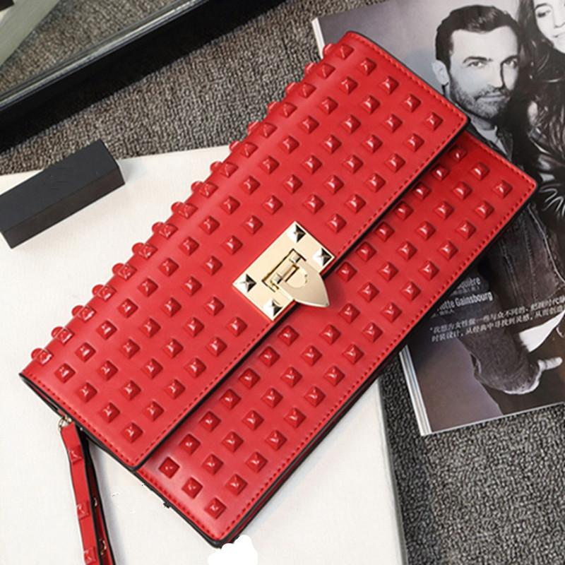 2017 nuovo rosso moda rivetto donna pochette marsupio borsa da sera femminile sacchetto di spalla di marca sacchetto del messenger Y18110101