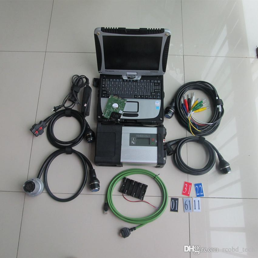 sd pour mercedes mb étoiles c5 diagnostic étoile pour les voitures et les camions avec 320gb hdd avec écran tactile CF19 portable