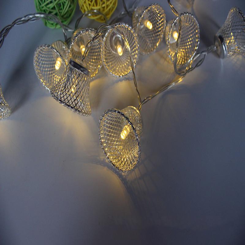 LLEVÓ Arte de Hierro Campana Luz Cadena Luz Cubierta de Vacaciones Caja de la Batería de la Lámpara de Hadas Boda Árbol de Navidad Dormitorio Romántica Decoración Creativa