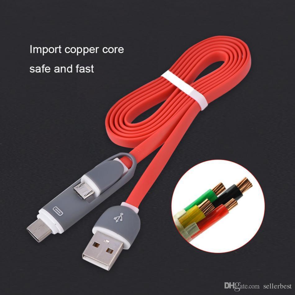 Mikro USB VBESTLIFE 2'de 1 USB Data Kablosu ve C Tipi Hızlı Sync Veri Kablo Tel 1M Kablolar Şarj