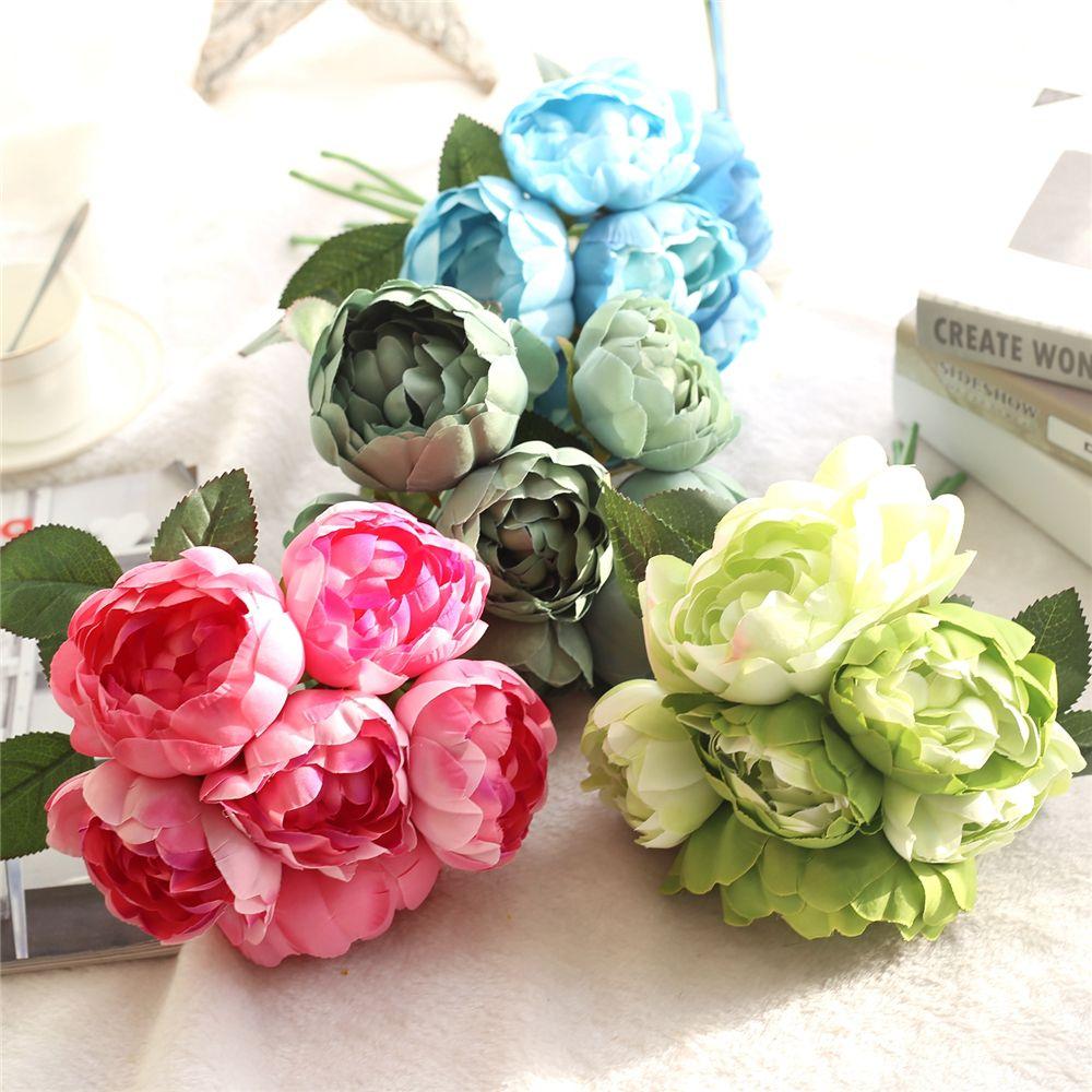 flores LIN HOMBRE Hight de raso de calidad 6 cabezas Ramo flores artificiales de Rose Peony Vivid falso boda decoración de la flor del partido del hogar