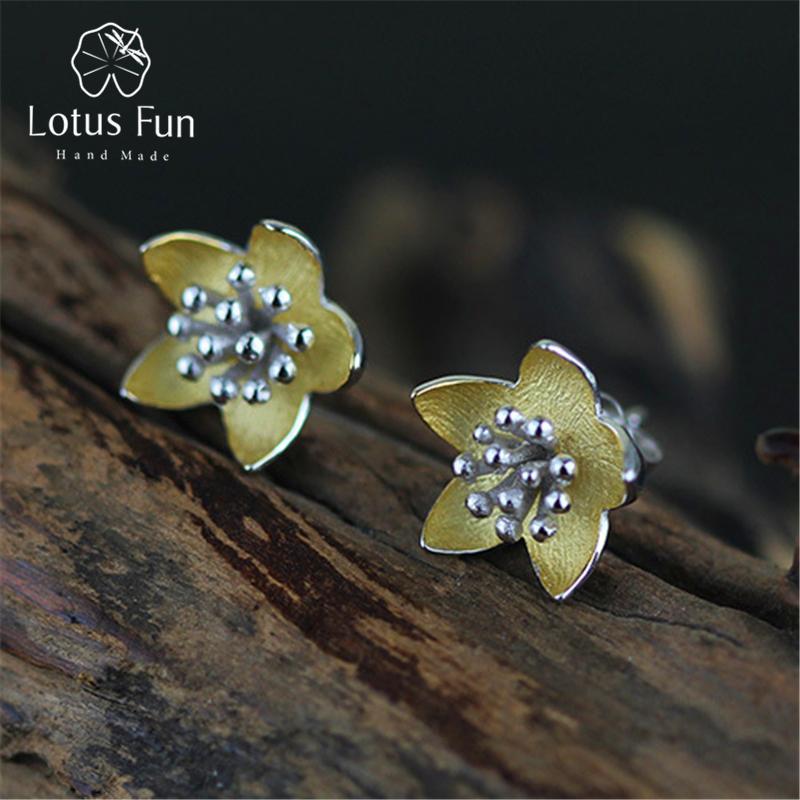 Lotus Eğlenceli Gerçek 925 Ayar Gümüş Doğal Yaratıcı El Yapımı Güzel Takı Vintage Taze Çiçekler Saplama Küpe Kadınlar için Brincos D1892005