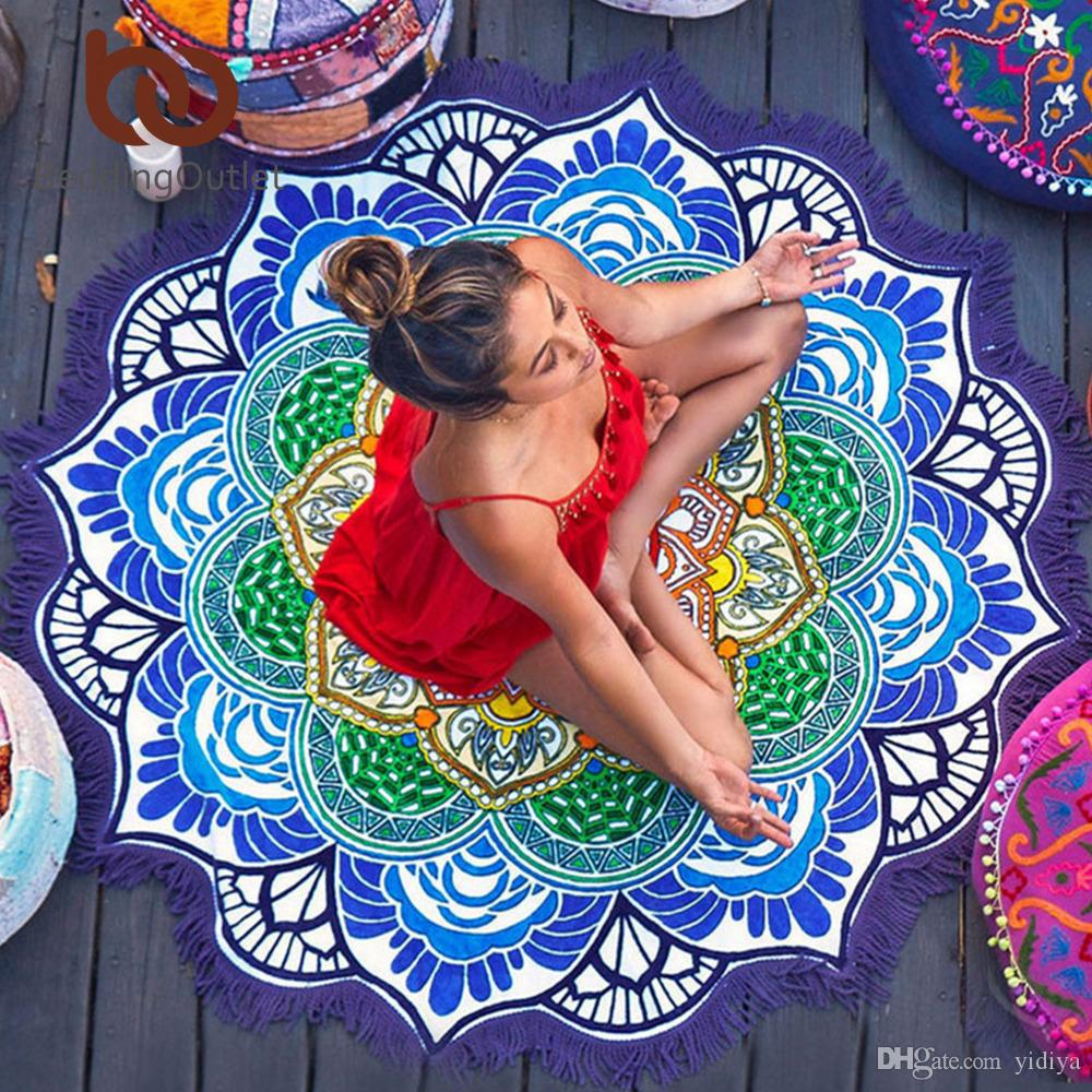 Borla Indian Mandala Tapicería Lotus Impreso Bohemia Toalla de Playa Yoga Mat Bloqueador Solar Bikini Redondo Cover-Up Blanke Envío Gratis