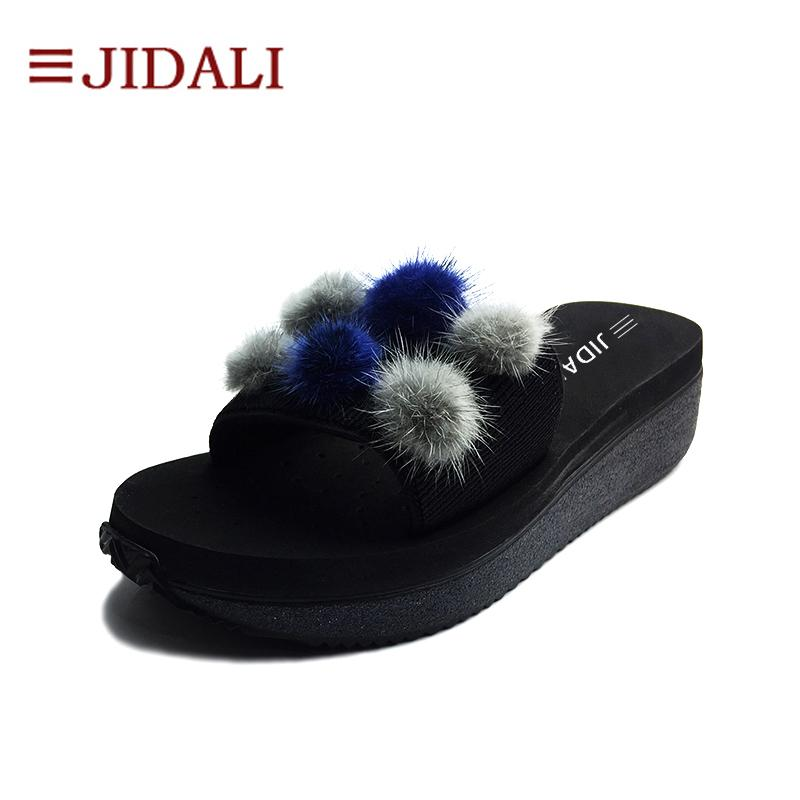 wholesale Fashion Furry Balls Black Flip Flop Women Shoes High EVA Bling Outside Wedges Platform Sport Sandals Summer Size 35-40