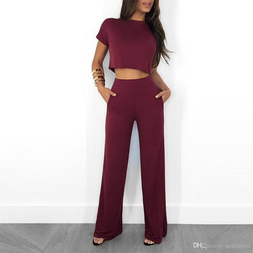 Crop Top and Pantalon Set Femmes Élégant Chemiseau Solide Blouse Solide Taille High Taille Land Pantalon long