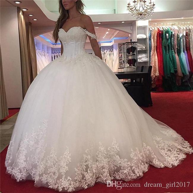 Robes de mariée en dentelle à l'épaule en dentelle 2018 Vintage Sweetheart perlée Tulle blanc Robe de mariée sur mesure Corset à dos robes de mariée