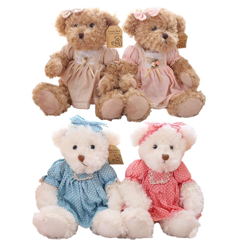 2 pcs/pair 26cm Lovely Couple Teddy Bear With Cloth Plush Toys Dolls Stuffed Toy Kids Baby Children Girl Birthday Christmas Gift
