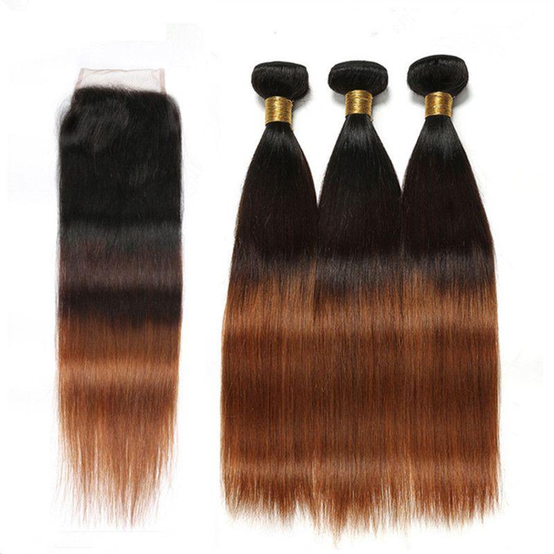 # 1B / 4/30 أسود بني أوبورن 3tone أومبير الشعر البرازيلي لحمة الشعر البشري مع إغلاق مستقيم متوسطة أوبورر أومبير 4x4 الدانتيل إغلاق مع 3 حزم