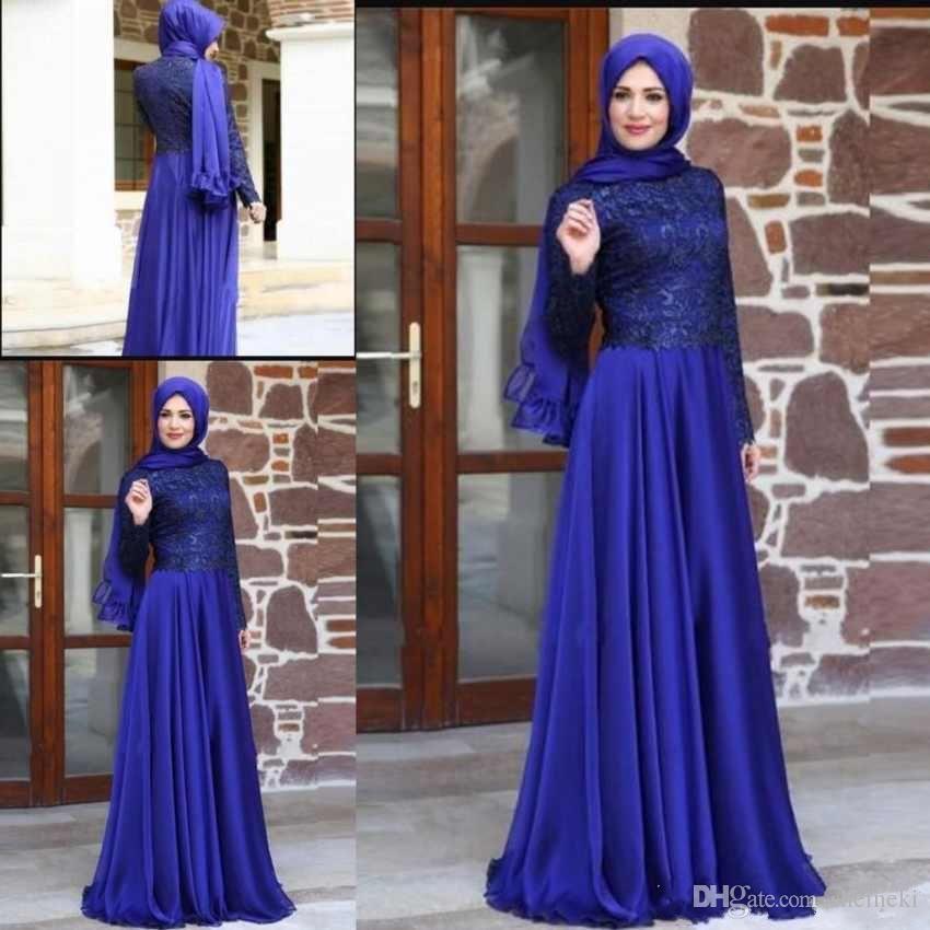 Vestidos de noche de gasa con cuello alto más nuevos árabes Mangas largas Encaje Apliques Longitud del piso Vestidos de baile Vestidos de fiesta por encargo