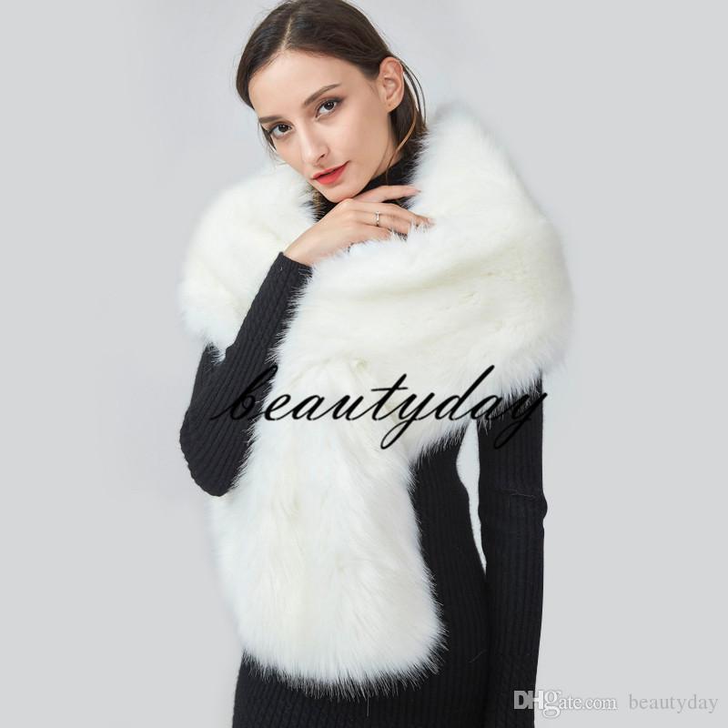 Hiver manteau de mariage bridal fausse fourrure enveloppements chaude stick châles châles arrière-vêtement noir blanc rose haussement d'épaules femme veste fête de noël soir 14