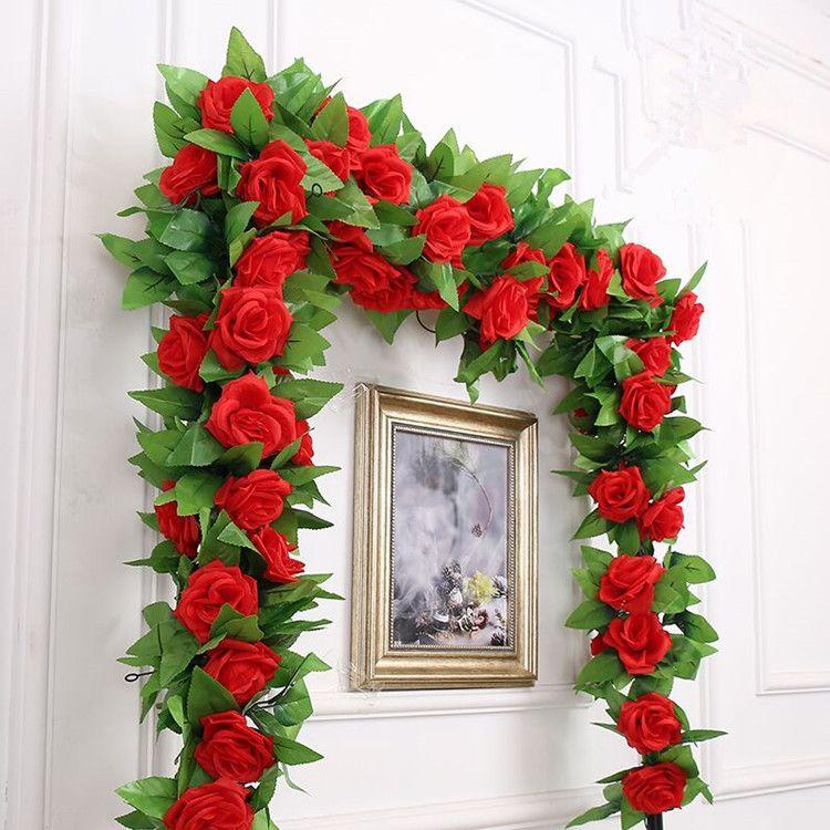 245 cm 14 colores decoración de la boda Artificial falsa seda rosa flor vid colgando guirnalda boda decoración para el hogar flores decorativas guirnaldas