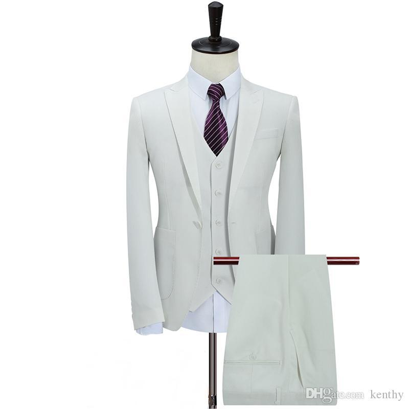 Custom Made 2018 White Men Suit Business Groom Tuxedo Formal Blazer Slim Fit 3 Piece Prom Wedding Suit Bridegroom Best Man Jacket+Pant+Vest