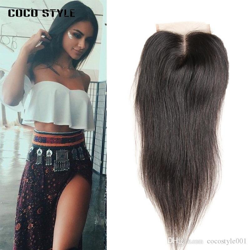 Brasilianisches gerades Haar-Spitze-Schließungs-freies / mittleres / dreiteiliges Remy Menschenhaar-4x4 Zoll Schweizer Spitzenoberteil-Schließung