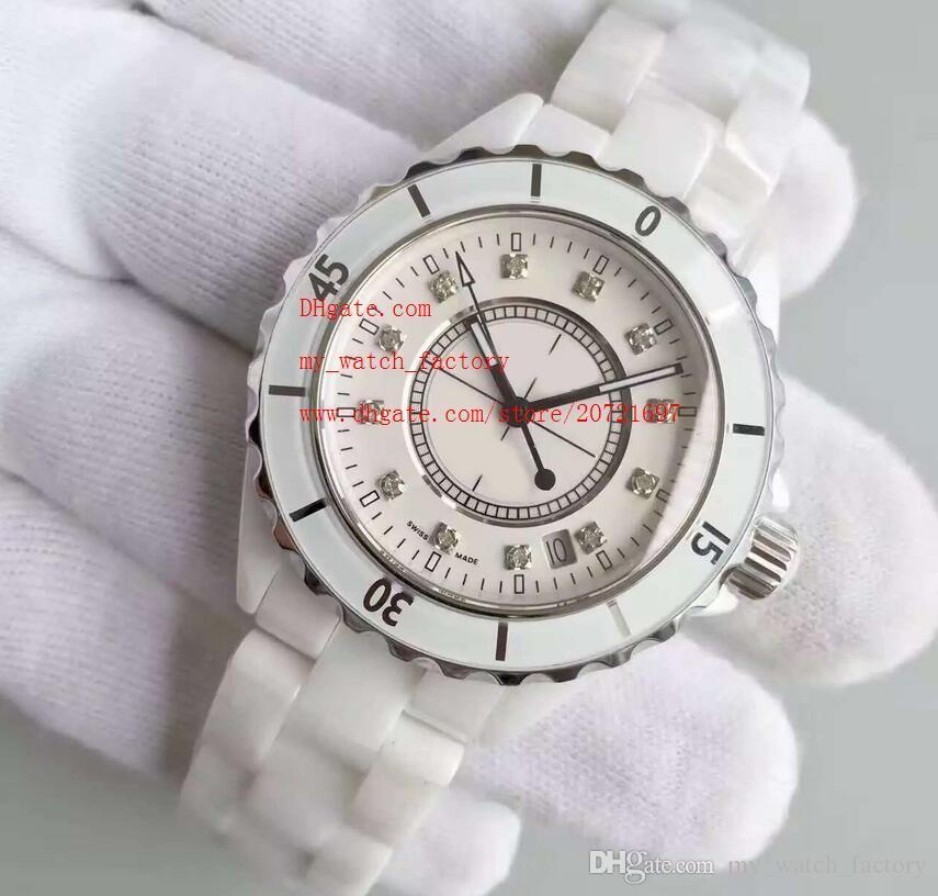 Завод поставщик роскошные наручные часы керамические 38 мм белый циферблат Алмаз автоматическая механическая дата мужские женские Наручные часы Часы