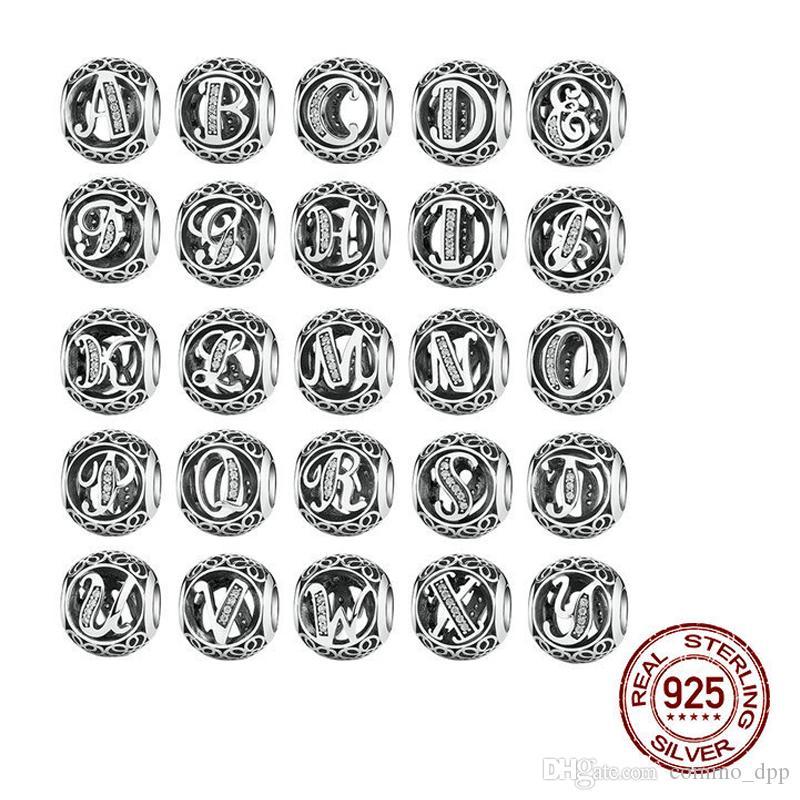 Autentico argento sterling 925 Vintage dalla A alla Z Lettera CZ 26 Alfabeto Big Hole Beads Fit Charms Bracciali Bangle Jewelry