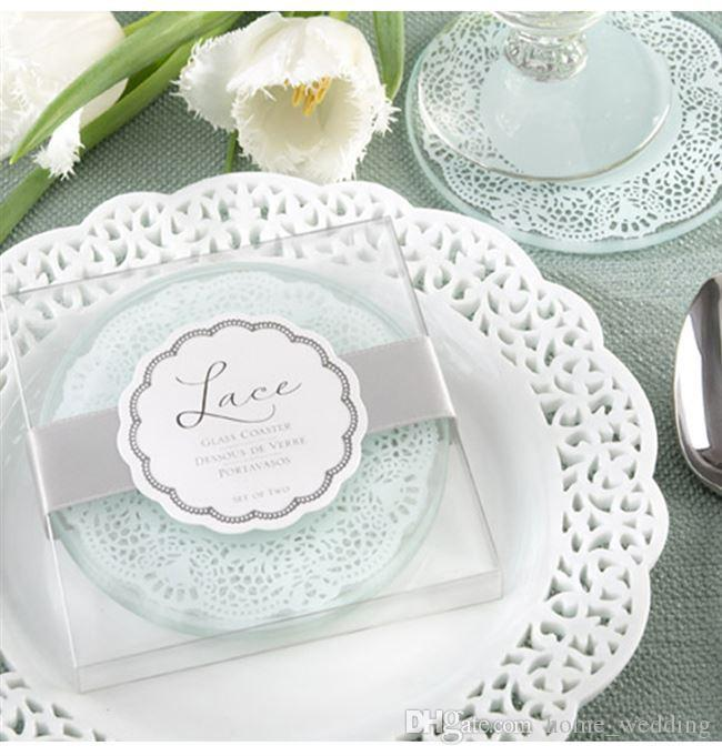 100sets 2pcs/set Free Shipping Wedding favors gifts Lace Exquisite Frosted Glass Coasters With Gift Box For Party