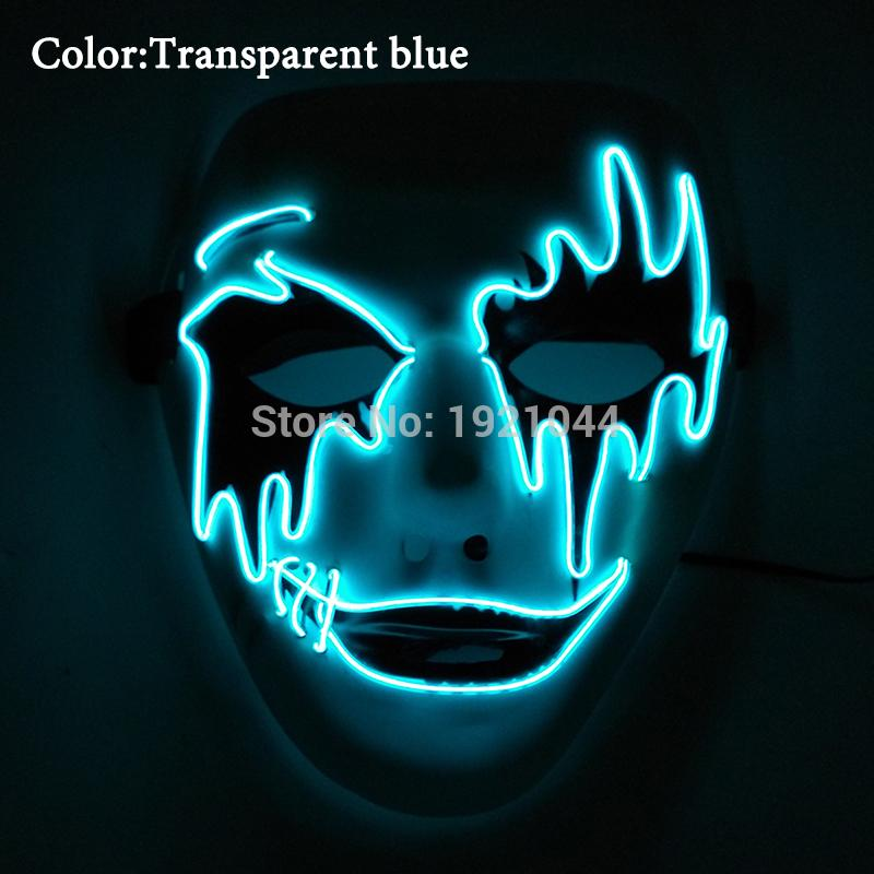DC-3V Steady on Driver Rave Party Mask LED Neon Rope Tube EL Wire Event Party Supplies Glow Light Masquerade Mask for Party Supplies