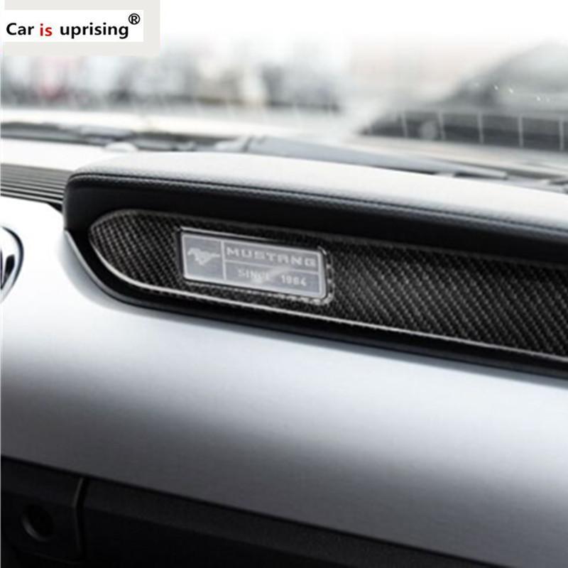 Pour Ford Mustang Carbon Fiber Intérieur Tableau de bord de voiture Décoration bande autocollant de voiture 2015 2016 2017 Accessoires