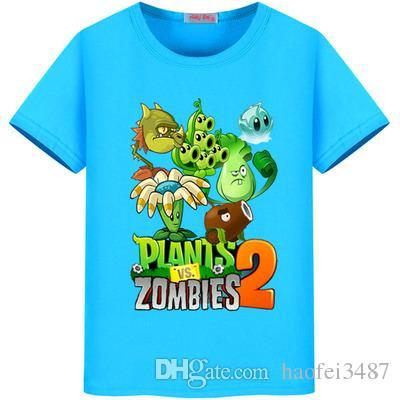Летние растения против зомби футболка девушки повседневная хлопок О-образным вырезом тройник топы дети Майка одежда мальчики хлопок мультфильм футболка 2-11y