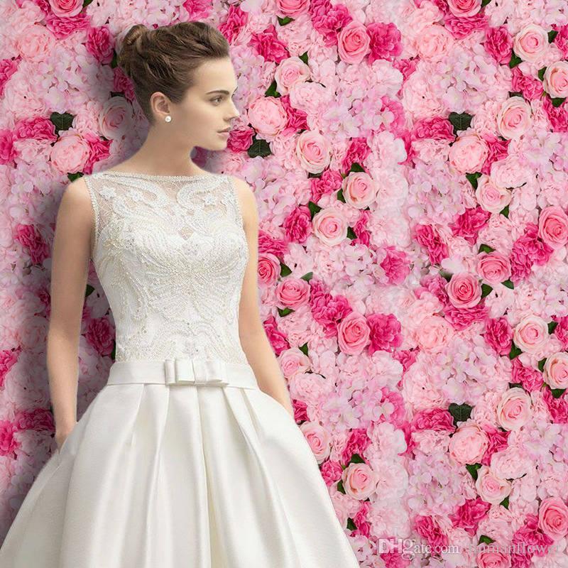 Paneles contexto decoración de la boda decoración de la pared flor de la boda artificial de seda 40x60cm Rose Hydrangea decorativo seda Hydrangea