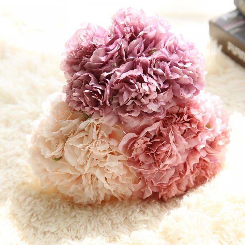 Falso 5colors Artificial Peony Silk Flowers Bridal Bouquet Arranjo de flor da festa de casamento Decoração Quadro Principal Garden Festival
