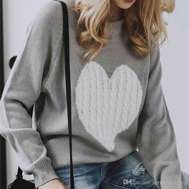 Autumn Winter Knitted Love Graphic Sweater Women Long Sleeve Heart Women Casual Pullover Loose Jumper Pull Femme FS5843