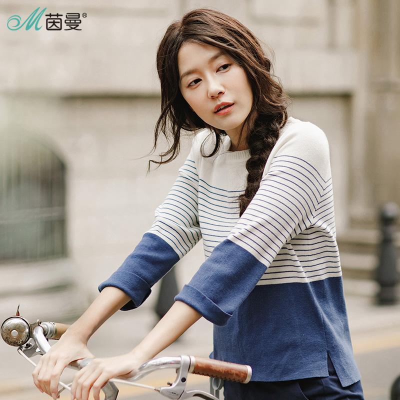 INMAN 2018 новые продукты женщины Весна одежда свободные полосатые пуловеры Женские свитера топы S18100803