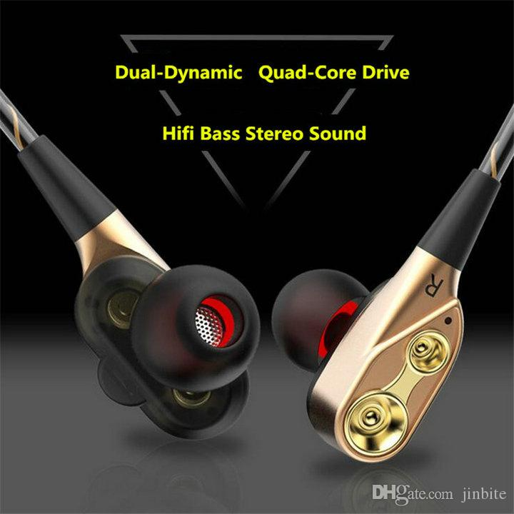 Universal Double Unit Drivers headphone In Ear earphone Bass Subwoofer Stereo With Mic Sport HIFI earbuds gaming headset For All Phone OM-S3